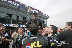 Mark Webber and Team Minardi celebrating