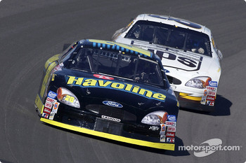Ricky Rudd leading Robert Yates Racing teammate Dale Jarrett
