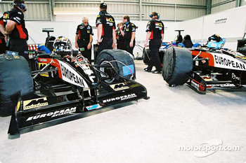 Preparing the Minardi twin seater cars