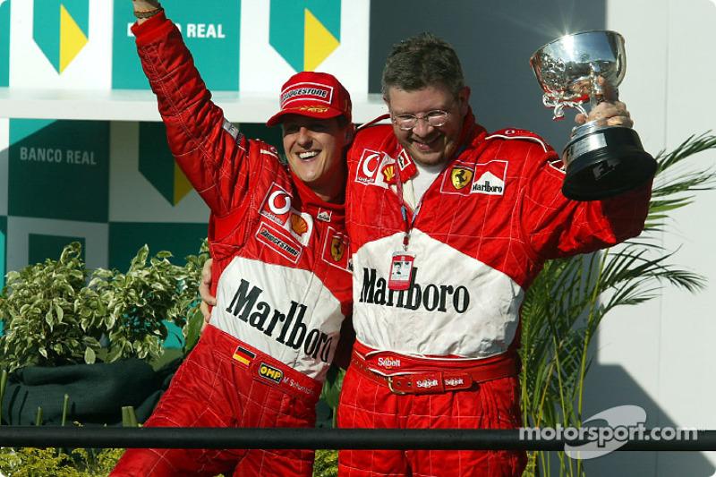 Race winner Michael Schumacher and Ross Brawn