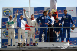 The LMP 675 podium: winners Christophe Pillon, Walter Lechner Jr. and Jean-Denis Deletraz with second place Jean-René de Fournoux, Jean-Bernard Bouvet and Stéphane Daoudi