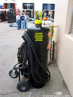 Cooling system purge tank in Winston Cup garage area