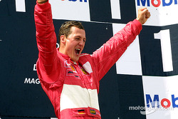 The podium: race winner and five-time World Champion Michael Schumacher