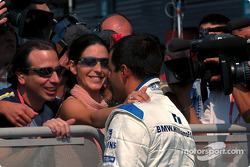 Pole winner Juan Pablo Montoya and girlfriend Connie