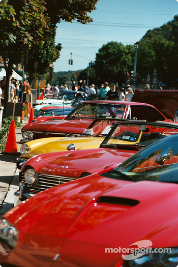 Rally cars line up on Franklin Street, Watkins Glen