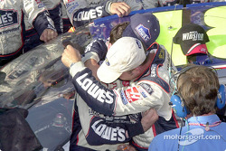 Jimmie Johnson gives his crew chief a big hug