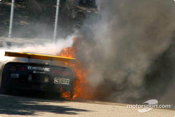 Johnny O'Connell and the Corvette Racing Chevrolet Corvette C5-R on fire
