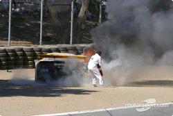 The Corvette Racing Chevrolet Corvette C5-R still on fire