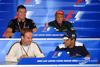 FIA Thursday press conference: Rubens Barrichello, Juan Pablo Montoya, David Coulthard and Niki Lauda
