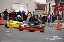 Loyal Order of Moose Briggs Junior Sportsman-1 racers #8-Nick Errera and #50-Zachary Deshaies battle down Park Avenue