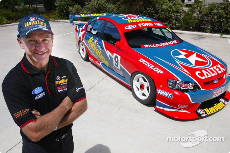 2003 presentation by Stone Brothers Racing of new Ford Caltex Havoline Falcon: Russell Ingall