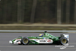 Mark Webber drives the new Jaguar R4 during a shakedown test at Ford's Proving Ground in Lommel, Belgium