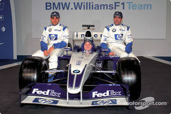 Juan Pablo Montoya, Ralf Schumacher and Marc Gene with the new BMW Williams F1 FW25