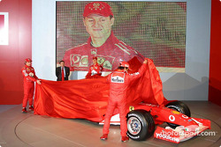 Jean Todt, Felipe Massa, Luca Badoer, Michael Schumacher and Rubens Barrichello unveil the new Ferrari F2003-GA