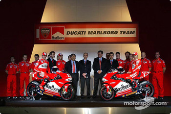 Riders Loris Capirossi and Troy Bayliss and the Ducati Marlboro team