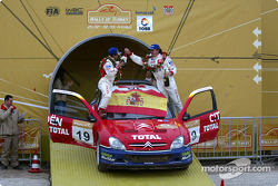 The podium: Carlos Sainz and Marc Marti celebrate win