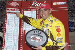 Elliott Sadler celebrate first career pole position in Winston Cup Series