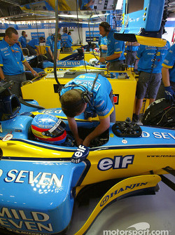Fernando Alonso in Renault garage area
