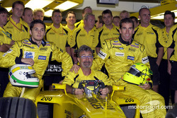 Eddie Jordan,  Giancarlo Fisichella, Ralph Firman and the team celebrates Team Jordan 200th Grand Prix