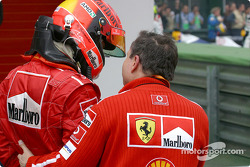 Michael Schumacher and Jean Todt in Parc Fermé