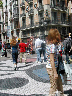 La Rambla and Joan Miro art on sidewalk