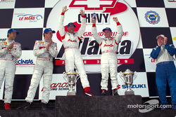 Podium: overall winners J.J. Lehto and Johnny Herbert, with Frank Biela, Marco Werner, and Jon Field, Duncan Dayton