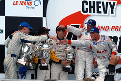 Podium: overall winners J.J. Lehto and Johnny Herbert, with Timo Bernhard, Jorg Bergmeister, and Oliver Gavin, Kelly Collins