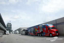 Hendrick Motorsports race car transporter at Indy