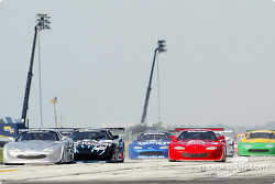 The start: Scott Pruett leads Johnny Miller and the rest of the field