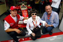 Olivier Panis with signer Mireille Mathieu and actor Jean Reno