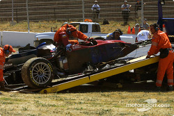 The Intersport Racing Lola EX257/AER MG after the crash