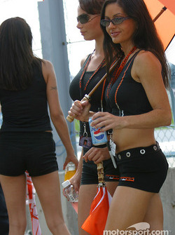 The lovely Hazardous girls join lucky Motorsport.com photographer on the trackside to watch the race