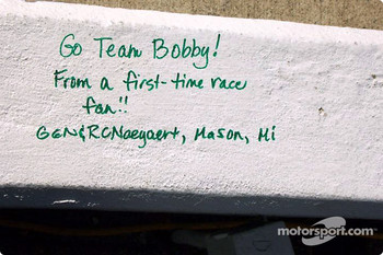 Pre-race fan signature on Bobby Labonte's pit wall