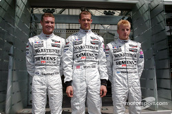 David Coulthard, third driver Alexander Wurz and Kimi Raikkonen