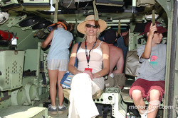 Looking into the back of a Bradley Fighting Vehicle