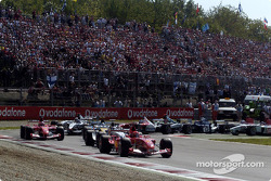 Out of first chicane: Michael Schumacher leads Juan Pablo Montoya