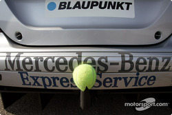 Lucky tennis ball on Christijan Albers' car