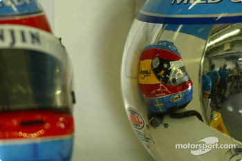 Jarno Trulli and Fernando Alonso helmets
