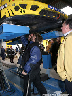 Undertray inspection on the #66 Konrad Motorsport Saleen S7R