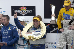Podium: race winner Marcos Ambrose with Jason Bright and Max Wilson