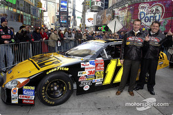 Matt Kenseth and Robbie Reiser with the DEWALT Ford Taurus in Times Square
