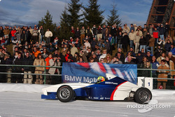 Ralf Schumacher drives a Formula BMW on the ice track