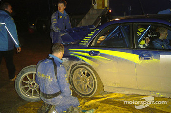 Mikko Hirvoinen at Subaru World Rally Team service area