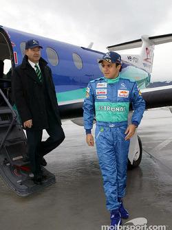 Peter Sauber and Felipe Massa arrive at Red Bull's Hangar-7 at Salzburg Airport