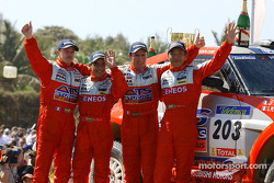 Stéphane Peterhansel and Jean-Paul Cottret, Hiroshi Masuoka and Gilles Picard celebrate 1-2 finish for Mitsubishi Motor Sports