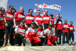 Hiroshi Masuoka and Gilles Picard celebrate second place finish