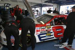 Dale Earnhardt Jr. sits in car while crew make last preparation
