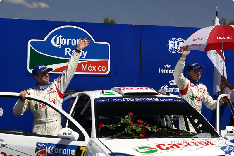 Podium: winners Markko Martin and Michael Park celebrate
