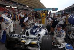 Juan Pablo Montoya on the starting grid