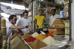 Renault drivers visit Bahrain: Franck Montagny, Fernando Alonso and Jarno Trulli